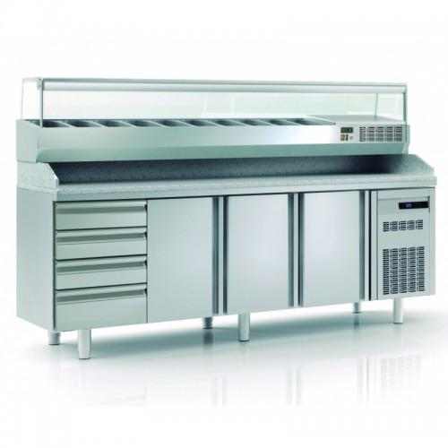 Meuble à pizza avec bloc 7 tiroirs neutres en inox, 3 portes pleines, 562 L - Gaz / Puissance frigorifique (W) / Consommation (W) - R134a* / 245 / 249 - réf MFP80-250-55