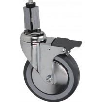 Roulette pivotante à goujon, avec frein, l'unité
