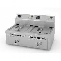 Friteuse électrique, 10 L + 10 L, triphasé, 6 + 6 Kw, série 600, à poser