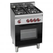 Cuisinière à gaz, 4 brûleurs, four à gaz, prof 600 mm