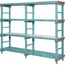 Rayonnage plastique charge lourde, 5 niveaux, L 1000 x P 600 x H 2165 mm, 4 roues, sur mesure