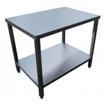 Table de service, 1 NIVEAU SUR VÉRINS, inox AISI 304, 600 x 600 x 850 mm