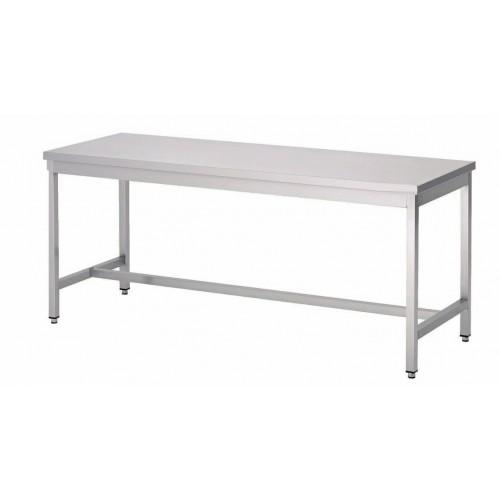 Table soudée bords droits, pieds carrés centrale, P 600 mm