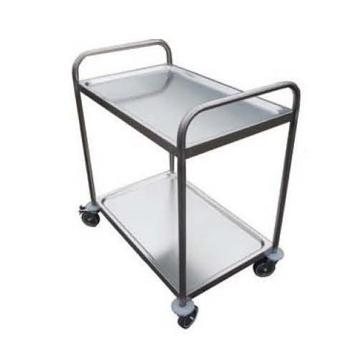 Chariot de desserte pour cuisine, 2 ou 3 plateaux, inox AISI 304 soudé, longueur 800 mm