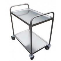 Chariot de desserte pour cuisine, 2 ou 3 plateaux, inox AISI 304 soudé, longueur 1000 mm