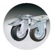 4 roulettes inox, chape zinguée, Ø 100 mm dont 2 à freins pour cuve roulante