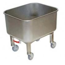 Cuve roulante avec robinet de vidange, en inox AISI 304, 80 litres