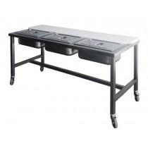 Table de préparation pizzas , inox AISI 304 , 1800 x 700 x 850 mm