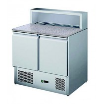 Table à pizza réfrigérée, avec insert pour bacs gastronormes, 2 portes, 5 GN1/6, inox