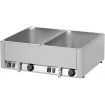 Double bain marie GN1/1 avec 2 robinets de vidange , Acier inoxydable , L - 660 mm , P - 540 mm , H - 220 mm