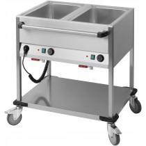 Chariot Bain-Marie à eau 2 GN 1/1 , acier inoxydable 18/10 , 850 x 700 x 900 mm