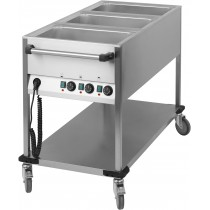 Chariot Bain-Marie à eau 3 GN 1/1 , acier inoxydable 18/10 , 1250 x 700 x 900 mm