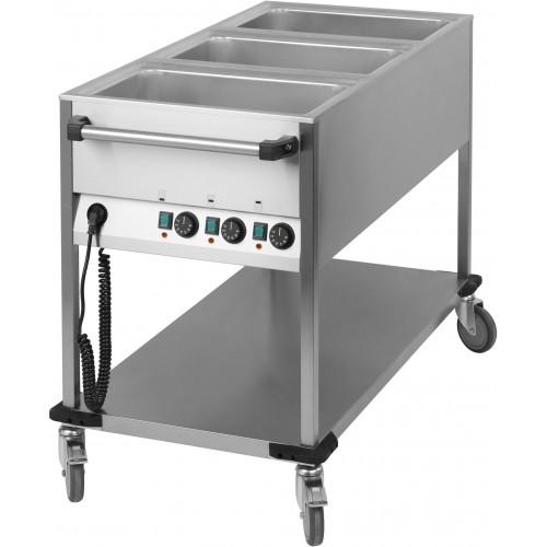 Chariot bain marie professionnel eau 3 x gn 1 1 2100 w for Chariot cuisine professionnel