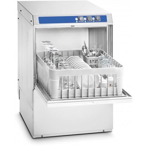 Lave-verre professionnel 400 pompe de vidange et adoucisseur intégrés, en acier Inox AISI 18/10, 3 200 W