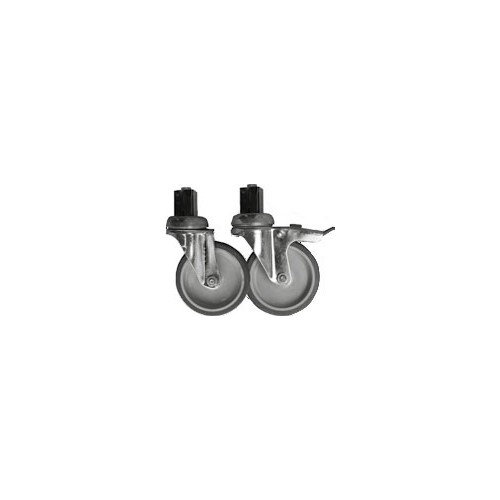 Plus-value pour roulettes ø 100 mm chape inox vissées (2 avec freins, 2 sans frein)
